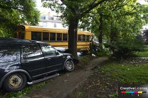 Baltimore City police are investigating a two-vehicle crash that involved a school bus in the northwest part of the city.