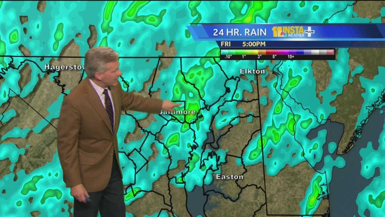 During the Friday evening weather forecast, Tom says a lot of rain in a short period of time caused flash flooding in the Baltimore region. Also, he said there were no reports that an official tornado spotted.