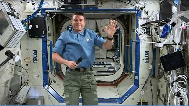 Austronaut and Cockeysville native Reid Wiseman waves to WBAL from space during an interview Monday morning.