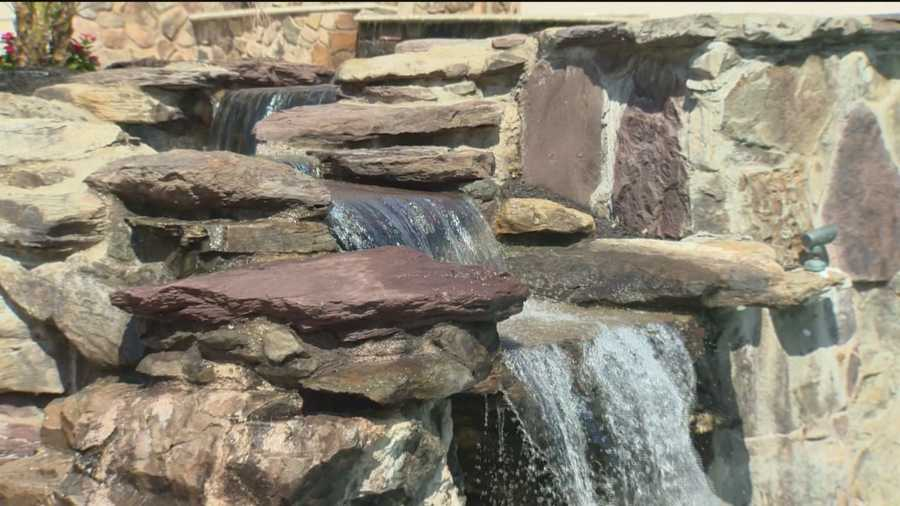 """""""The fact that there's more than one pool and one waterfall that falls into the other and there's a slide and amazing water features around that, it's pretty phenomenal,"""" said Carol Snyder, of DeCaro Luxury Real Estate Auctions."""
