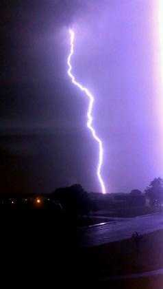 Lightning is captured in Middle River, right across from Glenmar Elementary School.