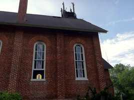 Damage to Monkton United Methodist Church's steeple.