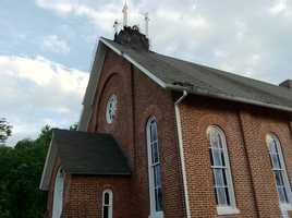 Monkton United Methodist Church's steeple after being struck by lightning overnight Wednesday.