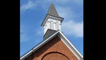 Monkton United Methodist Church steeple before lightning strike