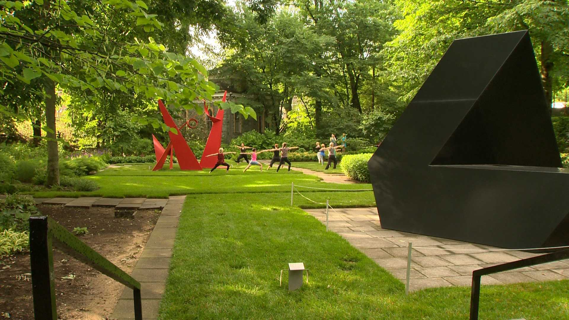 The Baltimore Museum of Art's sculpture garden holds a yoga class a few days a week.