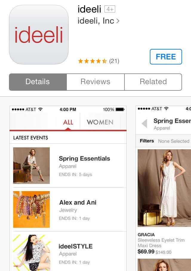 Mindy's favorite non-news app is Ideeli, a shopping app.
