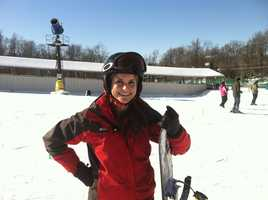 Ava has been a skier since she was young, but is now learning how to snowboard.