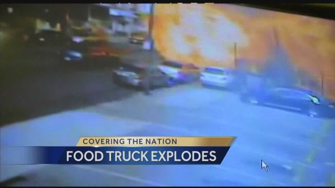 Incredible video from Philadelphia shows a food truck exploding into a ball of flames as flying debris hurts 12 people, two of them critically.  Megan Pringle has more on what happened and what witnesses saw.
