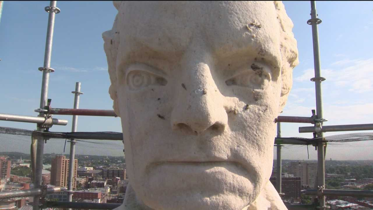 11 News reporter Megan Pringle got to venture 170 feet up to tour the monument while the scaffolding is up and check out a view of the city that few others ever get to see.