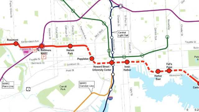 A map of the currently proposed routing plan for the Red Line through west Baltimore and downtown Baltimore.