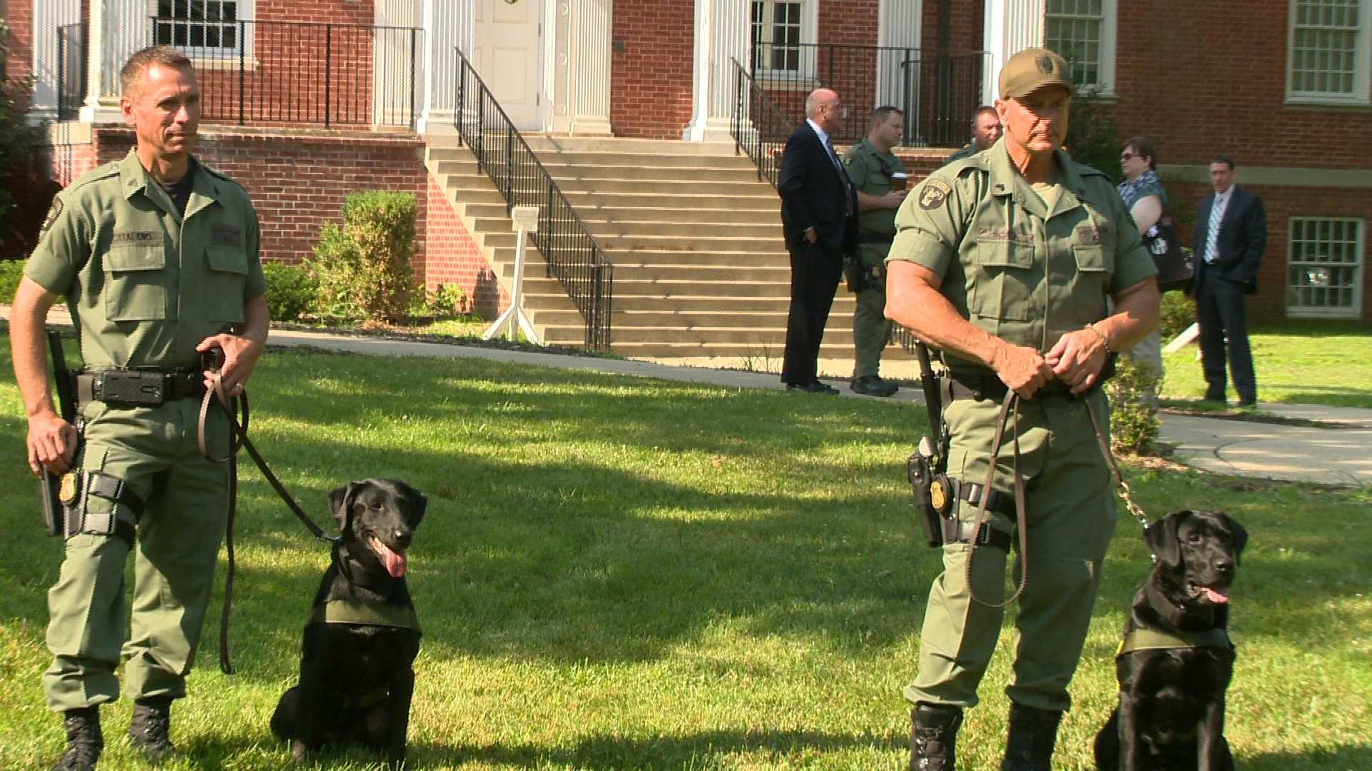 The Maryland State Police graduates four K-9 teams specifically trained to detect explosives carried by people.