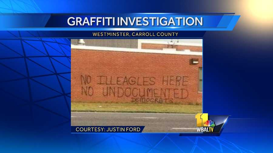 State police are investigating graffiti left on the Westminster Army Reserve building as a hate crime. The graffiti was discovered Monday.