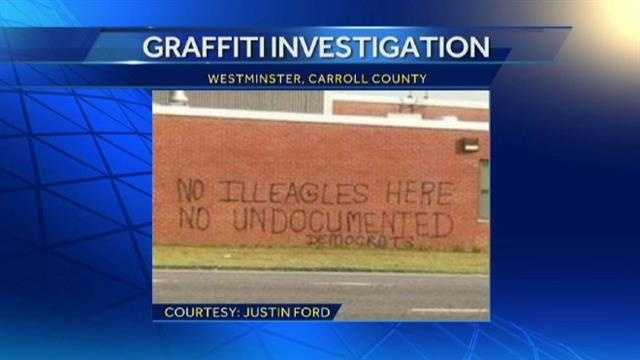 Graffiti at the U.S. Army Reserve Center in Westminster regarding the immigration debate.