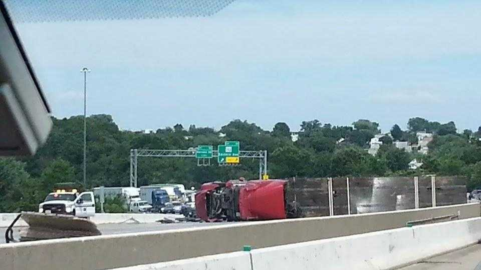 overturned tractor-trailer