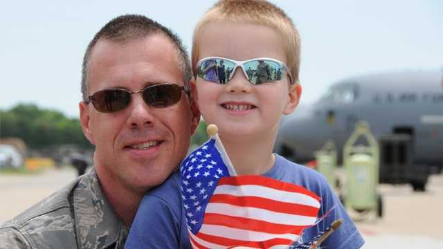 Tech. Sgt. John Jones with his son
