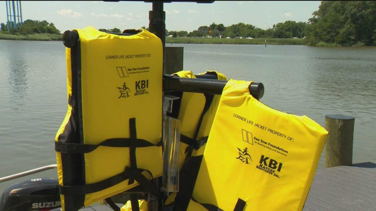 New life jacket loaner stands installed in Annapolis on Thursday.