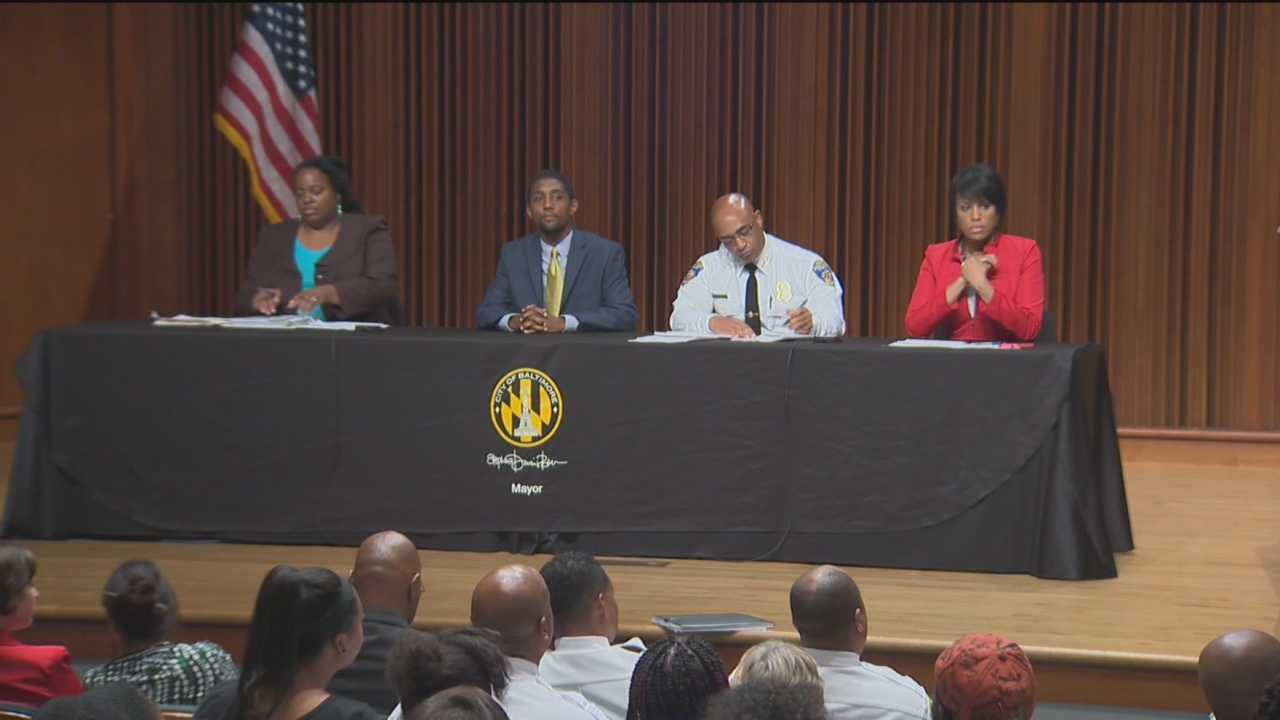 Baltimore City's mayor and police commissioner meet with community members for the first of two town hall-style forums about the newly amended curfew law.