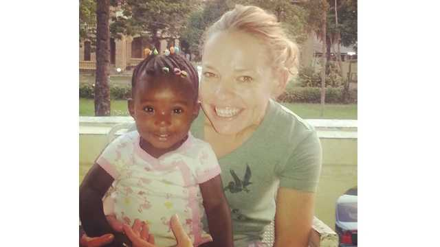 Erin Wallace in the Congo with her adopted daughter, Lainey