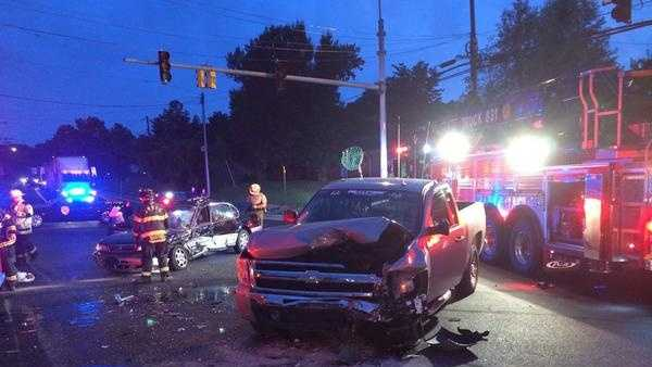 Fire crew work to extricate a woman from a two-vehicle crash in Joppa.