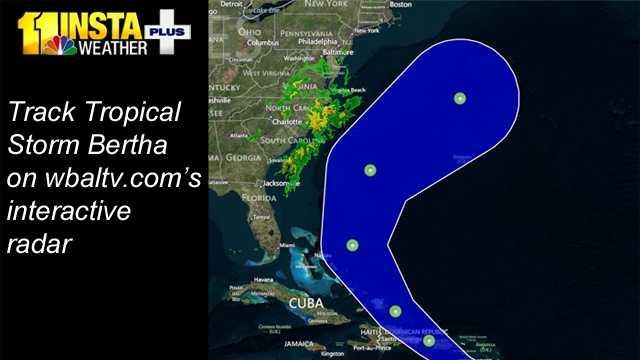Tropical Storm Bertha cone