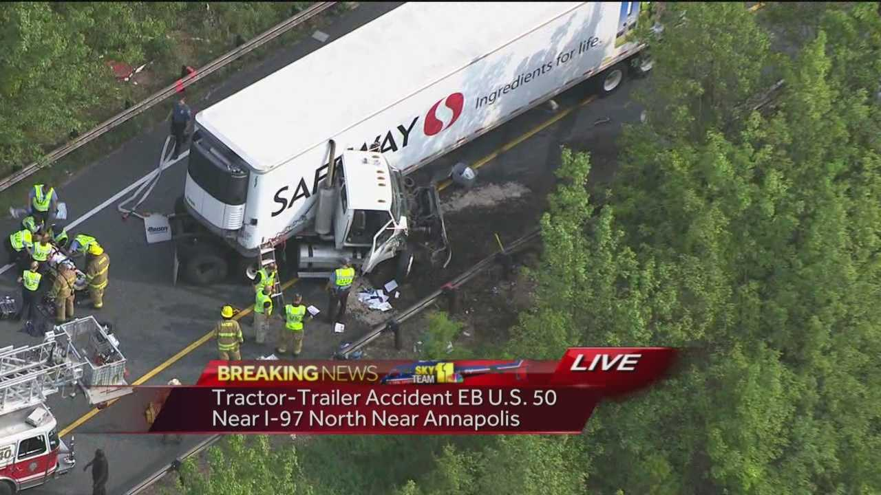 Jack-knifed tractor-trailer