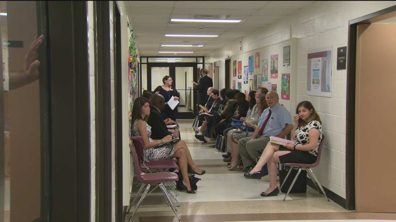 Nearly 100 teacher candidates made their best pitch at a jobs fair held weeks before the first day of school in Baltimore County.