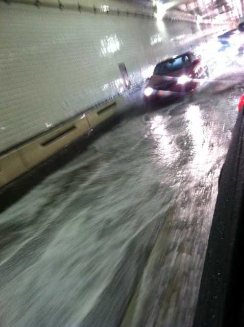 A u local member shows the conditions in the northbound tube of the Harbor Tunnel
