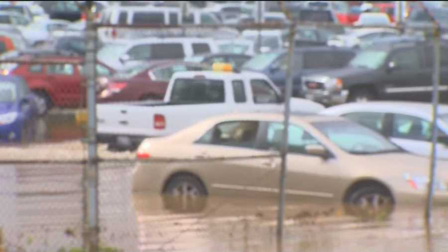 Portions of long-term parking lots A & B at BWI-Marshall Airport flooded Tuesday.