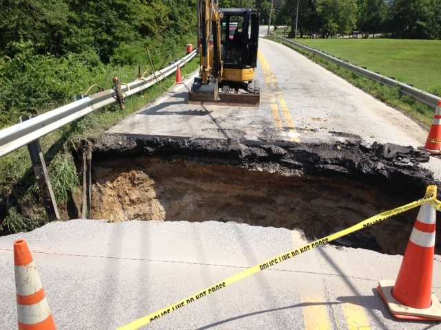 This sinkhole opened up at the intersection of Baltimore & Annapolis Boulevard and Old Mill Road in Pasadena.