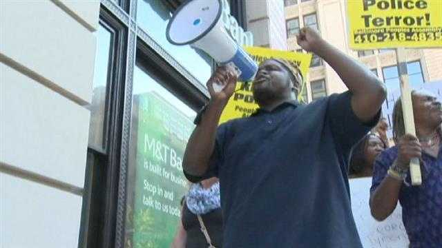 The crowd started relatively small but grew significantly as protesters marched through downtown Baltimore.