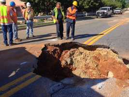 Crews are trying to repair a sinkhole that has cropped near the Home Depot in Cockeysville.