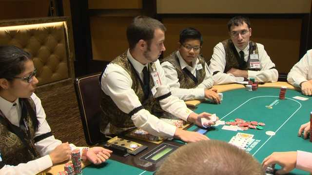 """Poker dealers practiced on the tables Friday. Officials say customer service will be a big focus at the casino.""""I think that's what makes or breaks a room. They can play poker anywhere, poker is poker. You won't eat at a place that has bad service right?"""" said poker room supervisor Victor Leone."""