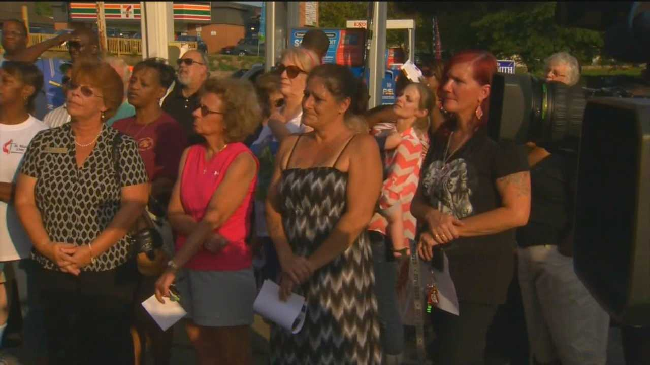 As the search continues for a cold-blooded killer who police say gunned down a gas station attendant in Anne Arundel County, dozens gather for a vigil to honor the victim.