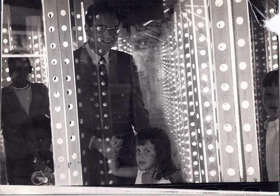 This is Deborah with her father at the fun house in Atlantic City. He encouraged her to pursue a TV career.