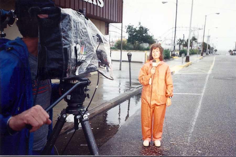 Deborah reporting in 1989 on Hurricane Hugo in South Carolina.