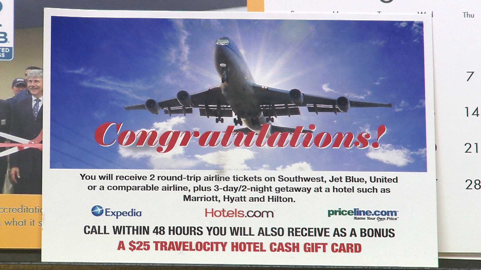 travel deal postcard scam