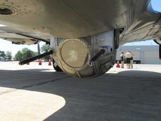 A view of the B-17's ball turret from the outside