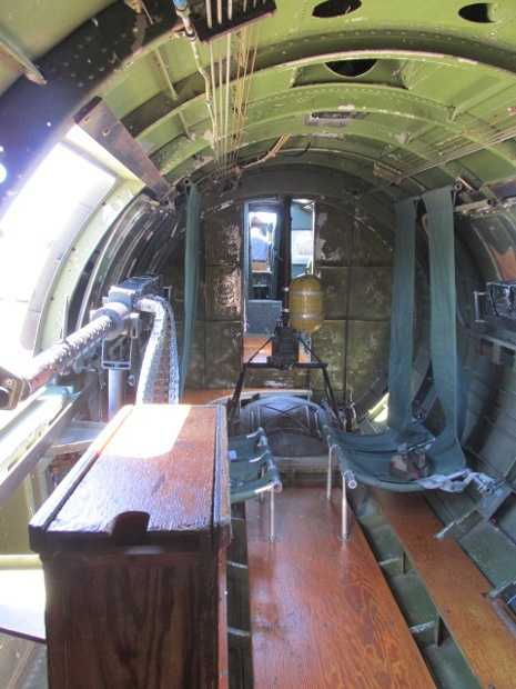 Inside the midsection of the plane. Note the ball turret in the middle.
