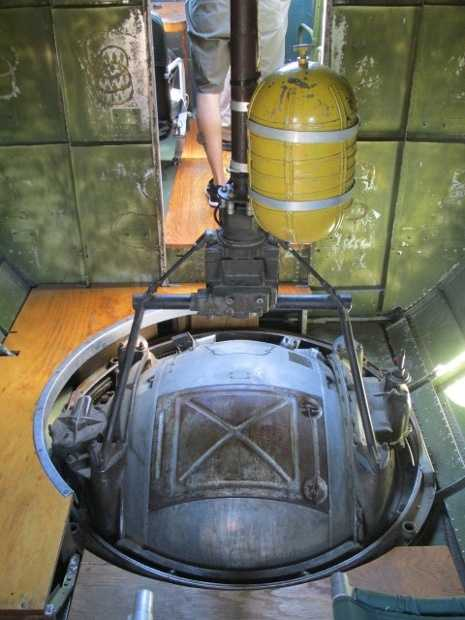 Inside view of the ball turret gunner position