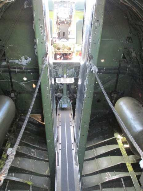 View of the bomb bay's walkway toward the pilot's cabin and the nose turret.