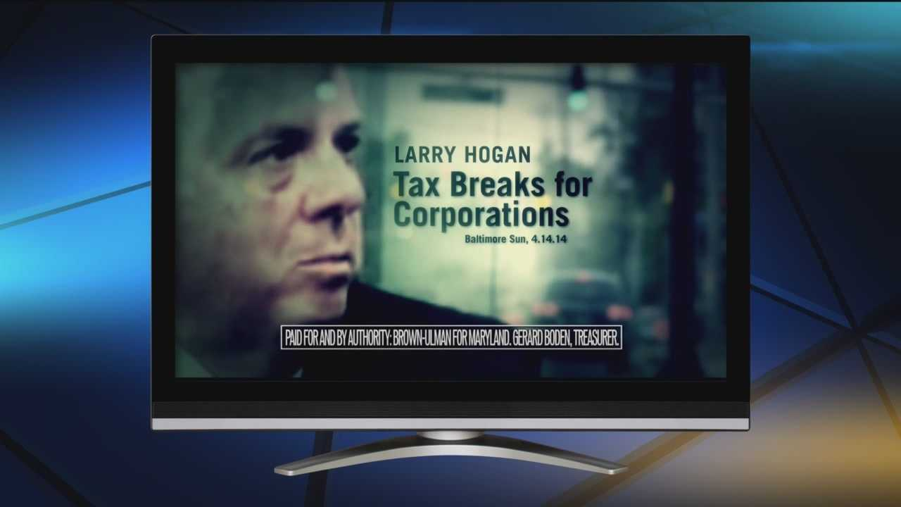 The TV ad put out by Anthony Brown's campaign is double-edged, depicting Brown as the good guy and Republican candidate Larry Hogan as a villain.