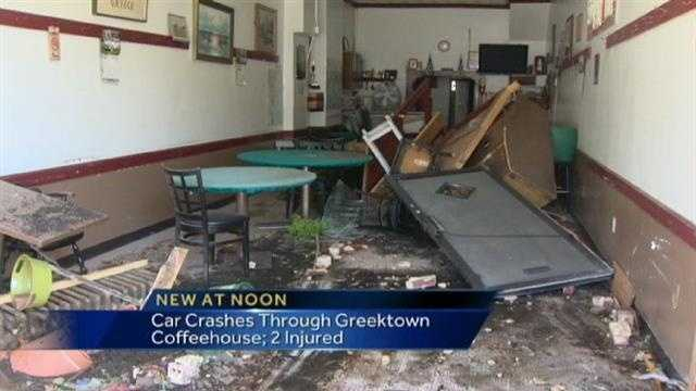 A car crashed into a coffeehouse in Baltimore's Greektown area Thursday morning, causing serious damage.