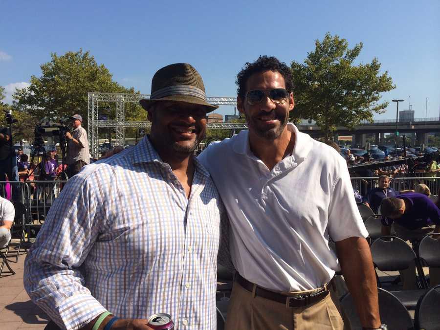 Ravens players Brad Jackson, Michael McCrary