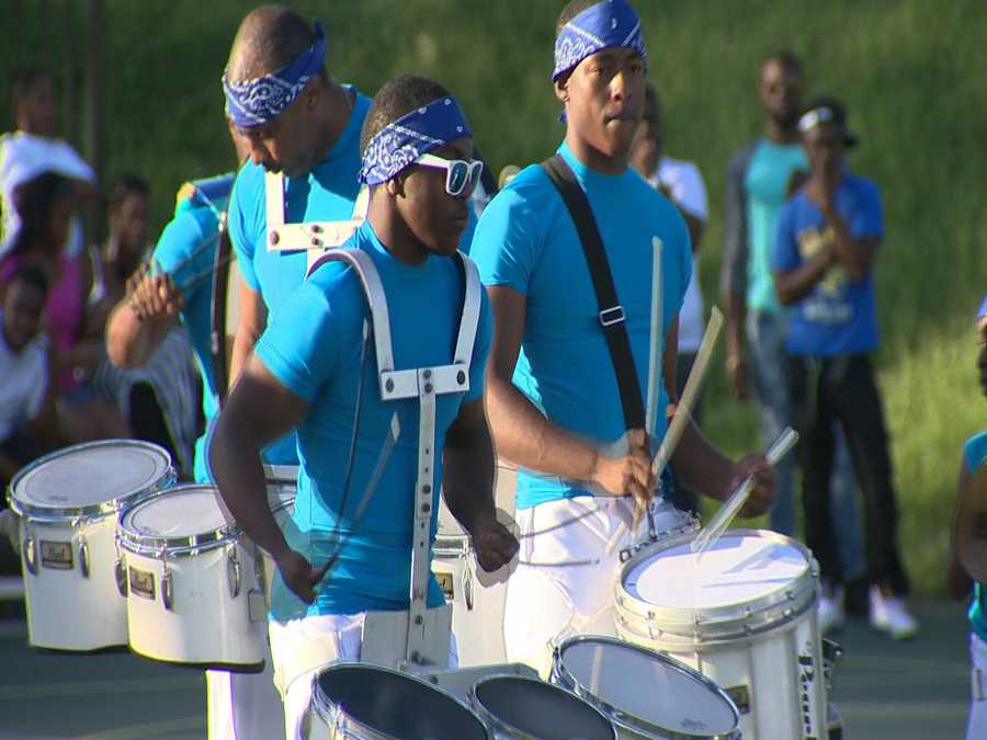 The block party on Sunday included cheerleaders, a drum line, music and lots of dancing.