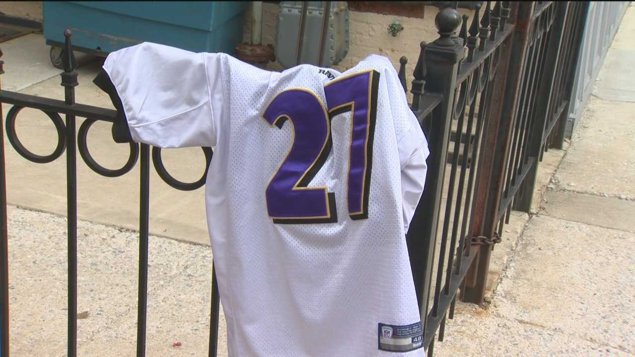 One of many No. 27 Ray Rice jerseys being discarded after video showing him hitting his wife in an Atlantic City elevator is released.