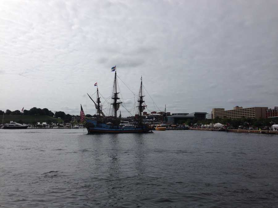 The first of about 30 tall ships arrives in Baltimore's Inner Harbor for the Star-Spangled Spectacular.