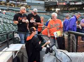 Sept. 16: Fans getting early autographs at Oriole Park at Camden Yards.