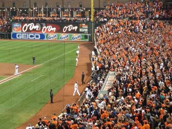 Sept. 16: Standing ovation for Darren O'Day as he exits game in the top of the eighth.