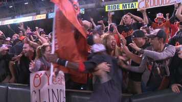 Adam Jones goes wild with the fans.