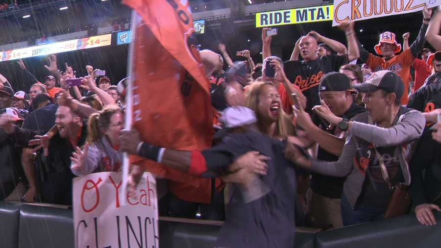Adam Jones goes wild with the fans.